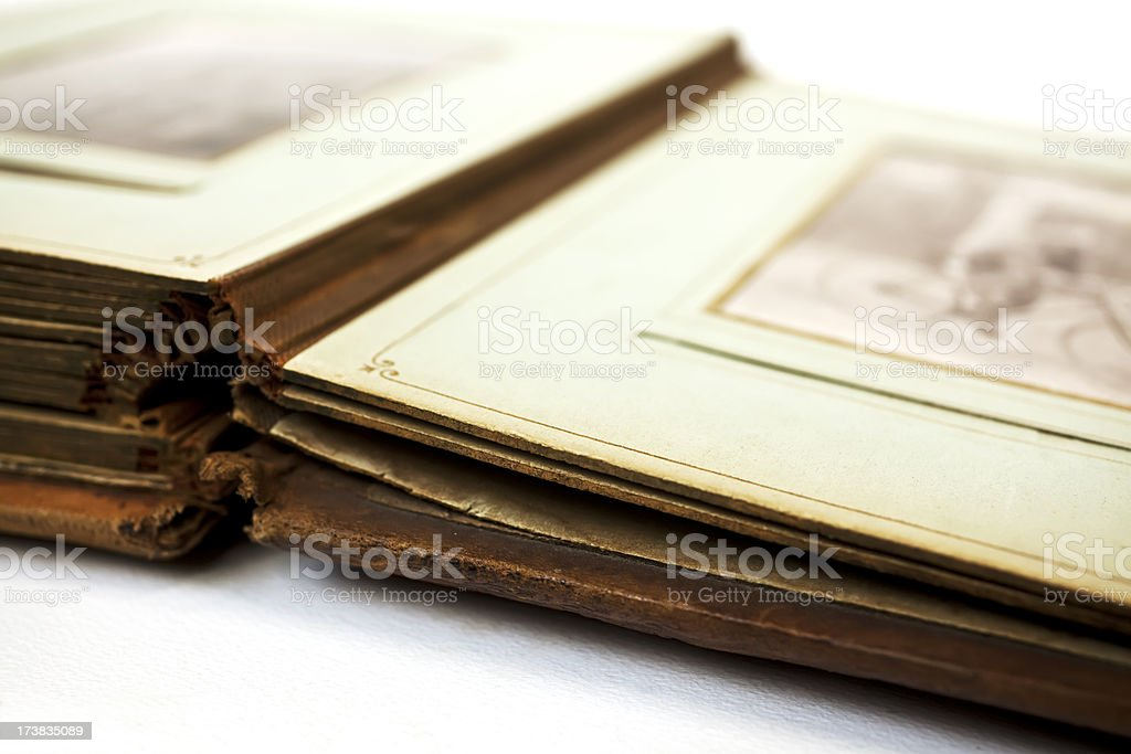 Antique album with photographs. royalty-free stock photo