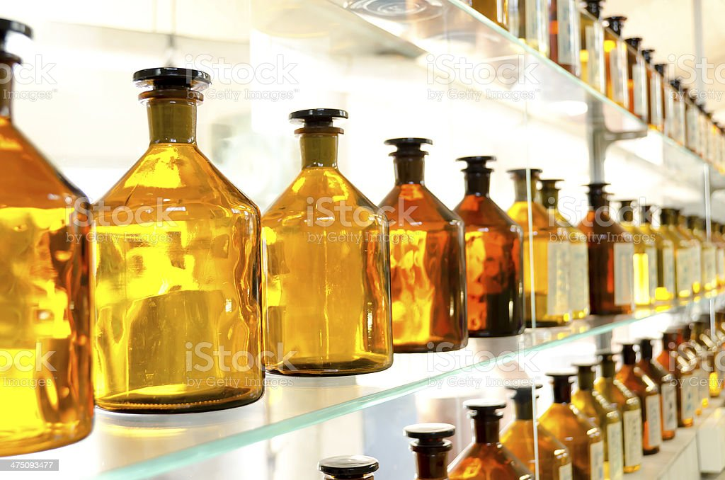 antique amber medicine bottles stock photo