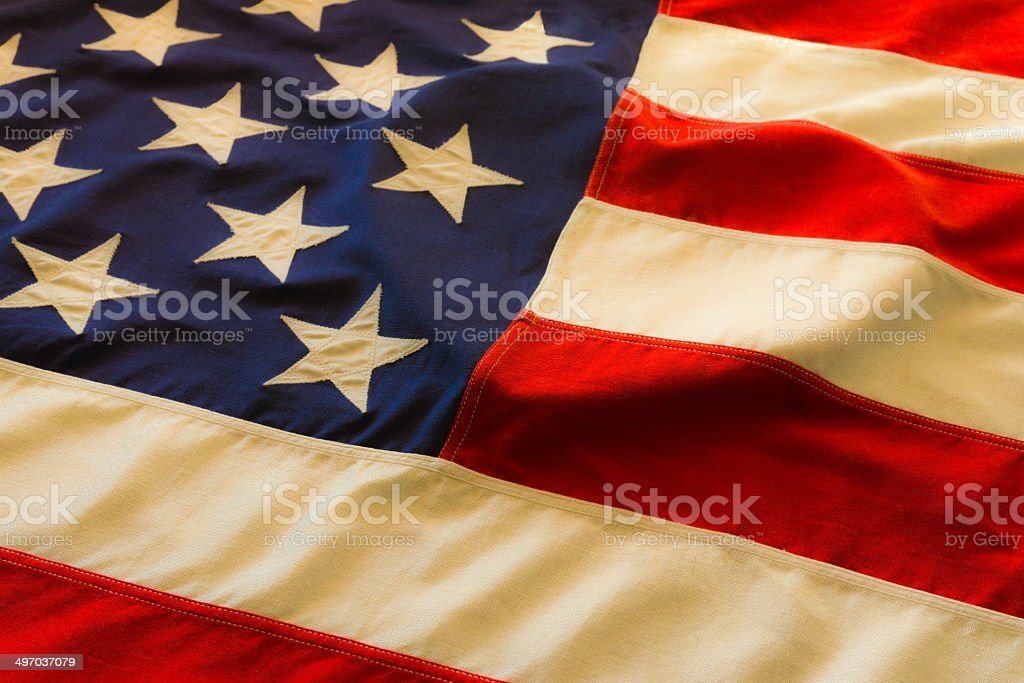 Antique American Flag with heart (P) stock photo