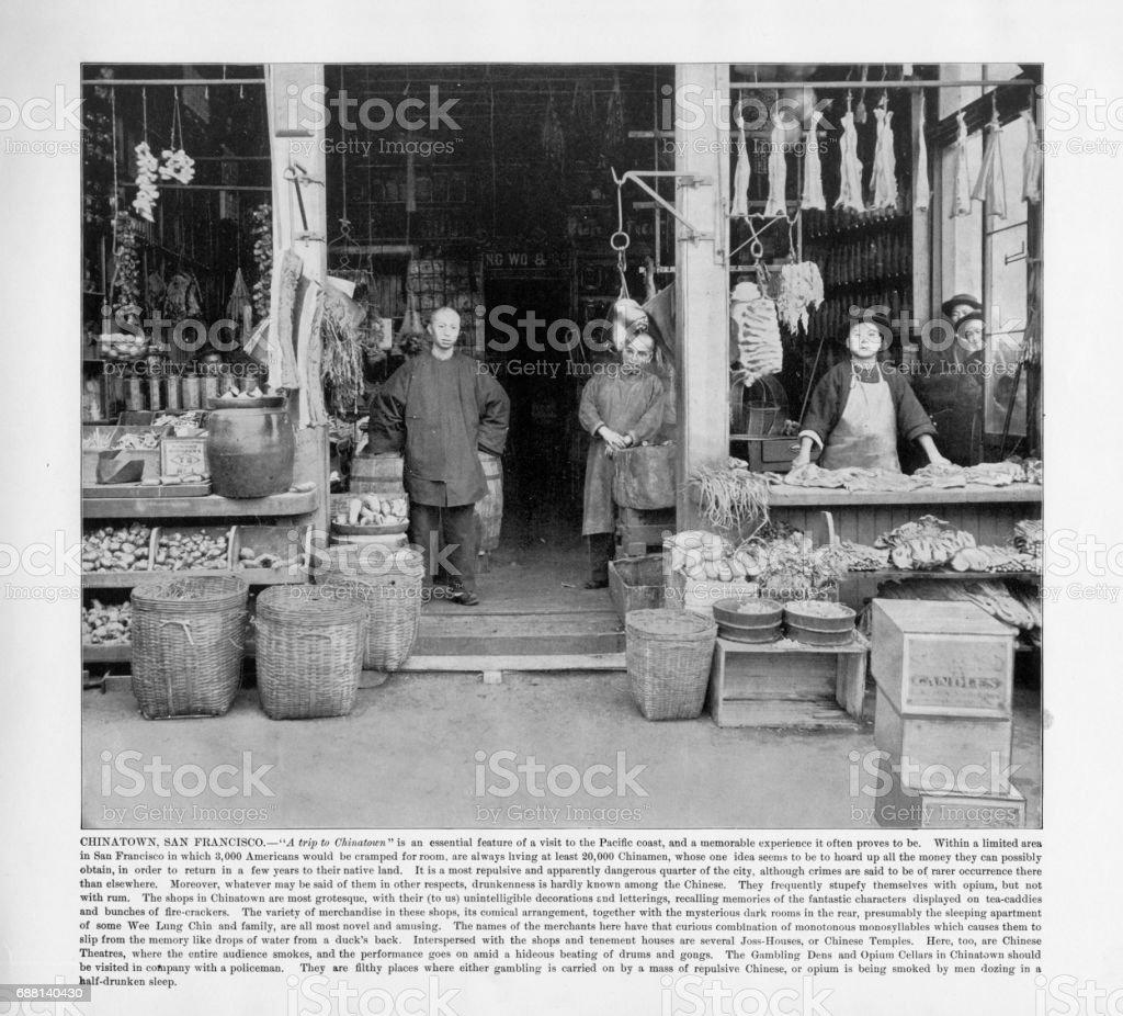 Antique American Photograph: Chinatown, San Francisco, California, United States, 1893 stock photo