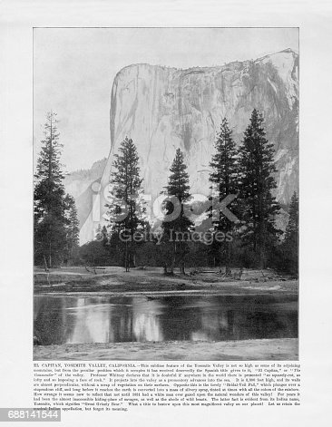 Antique American Photograph: El Capitan, Yosemite Valley, California, United States, 1893: Original edition from my own archives. Copyright has expired on this artwork. Digitally restored.