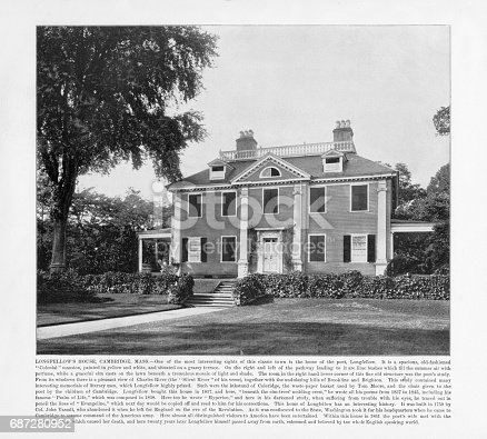 Antique American Photograph: Longfellow's House, Cambridge, Massachusetts, United States, 1893: Original edition from my own archives. Copyright has expired on this artwork. Digitally restored.