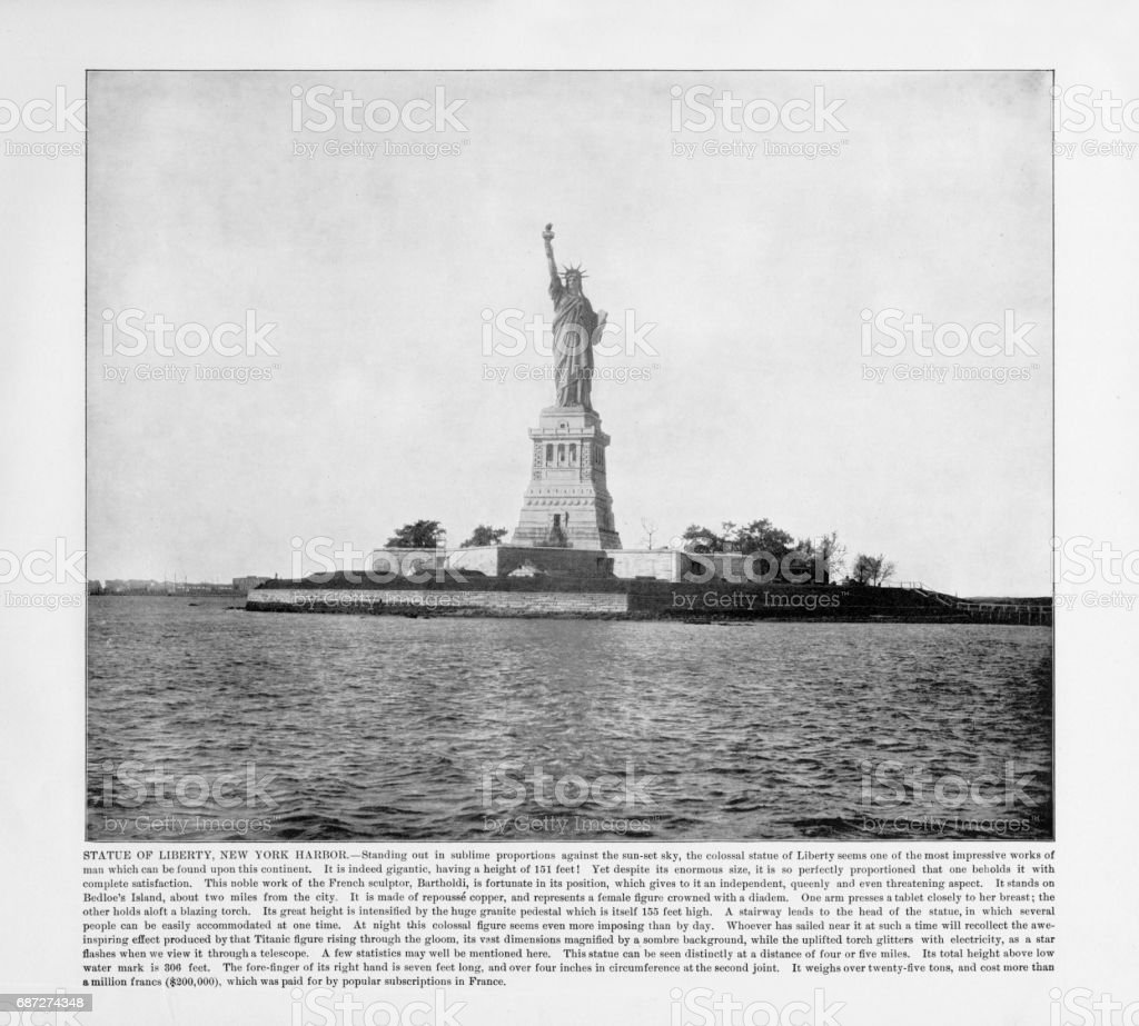 Antique American Photograph: Statue of Liberty, New York Harbor, New York, United States, 1893 stock photo