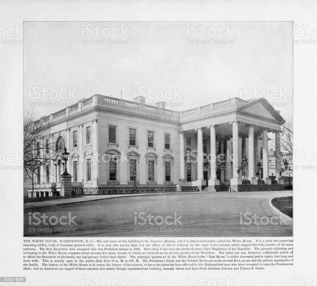 Antique American Photograph: The White House, Washington, D.C., United States, 1893 stock photo