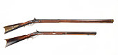 Antique mountain mans tiger maple buffalo rifles. One is full stock and the other is half stock made around 1840. .