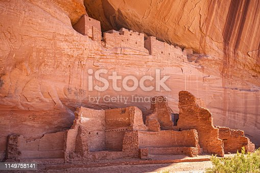 Antique anazasi ruins in Canyon de Chelly National Monument. Historic landmark of Arizona, USA.