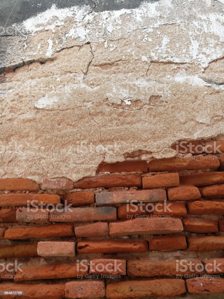 Antique and old red brick wall royalty-free stock photo