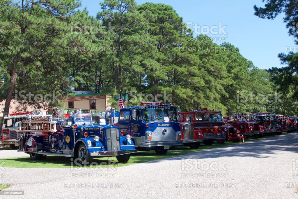 Antique and vintage fire engines on display stock photo