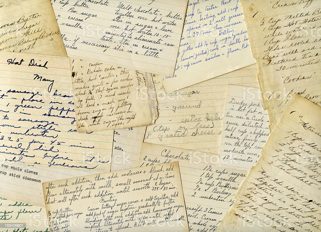 Antique and Vintage Handwritten Recipes stock photo