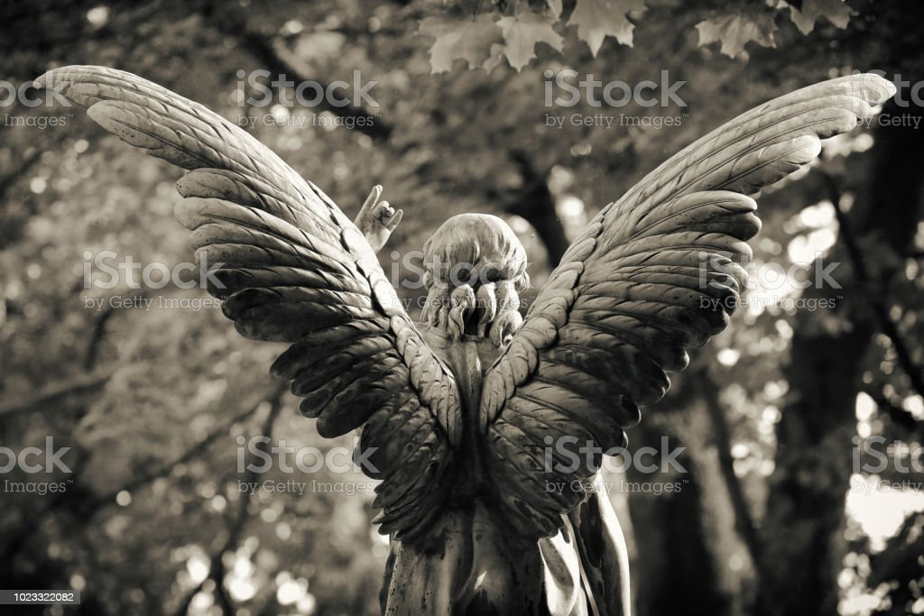 Antique Angel Statue on a Graveyard stock photo