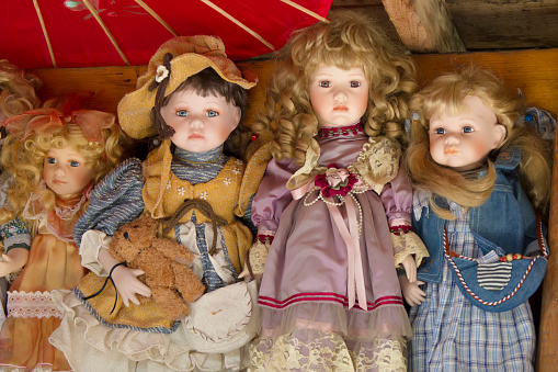 Antique antique dolls in the attic