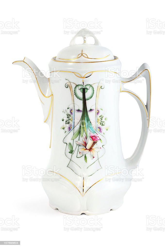 antique art nouveau coffee pot with daffodil flower - Jugendstil royalty-free stock photo