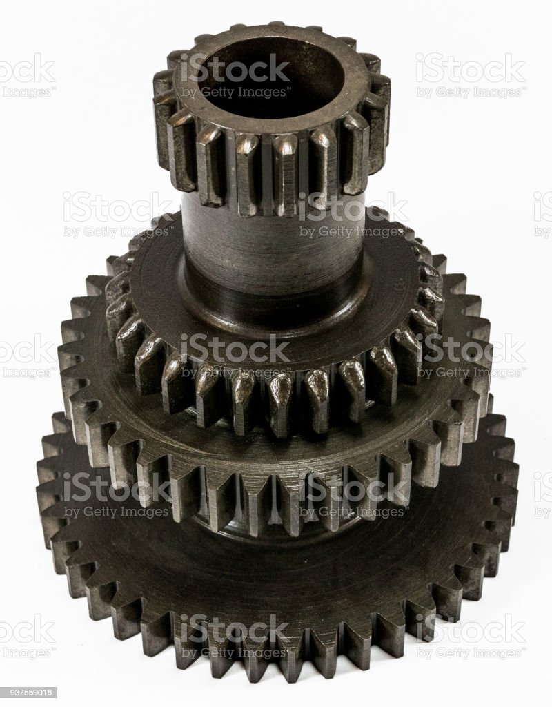 Antique automotive transmission cluster gear assembly stock photo
