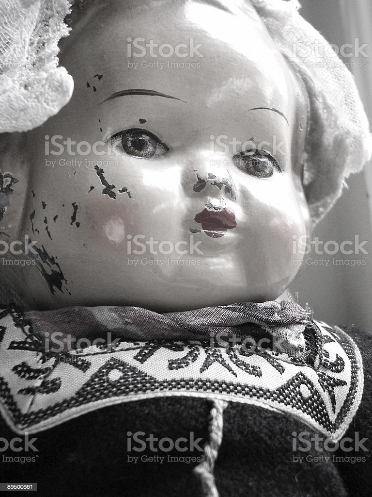 Antique Baby Doll Face Black and White royalty-free stock photo