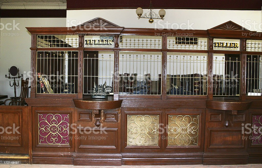 Antique bank counter royalty-free stock photo