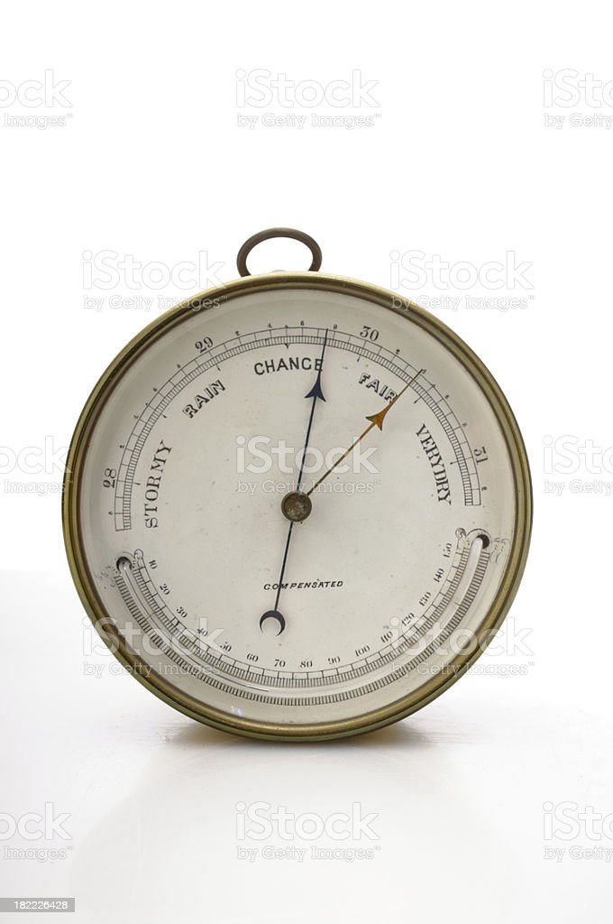 Antique barometer isolated on white stock photo
