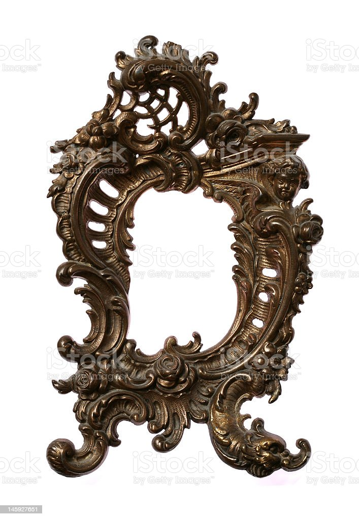 Antique Baroque Brass Frame royalty-free stock photo