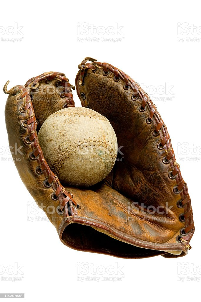 Antique Baseball Glove with Ball royalty-free stock photo