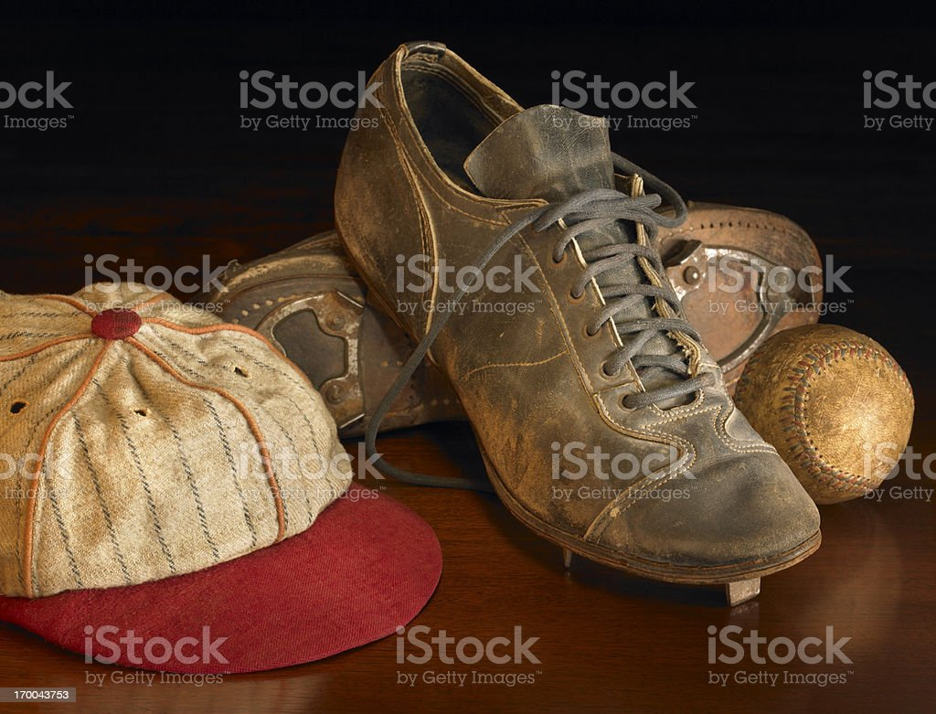 Antique baseball items on wood stock photo