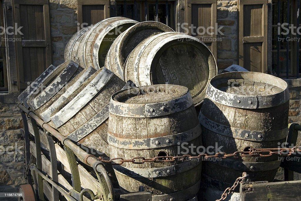 antique beer barrels royalty-free stock photo