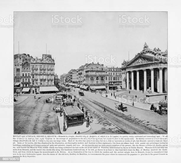 Antique Belgium Photograph: Boulevard Anspach, Brussels, Belgium, Holland, 1893