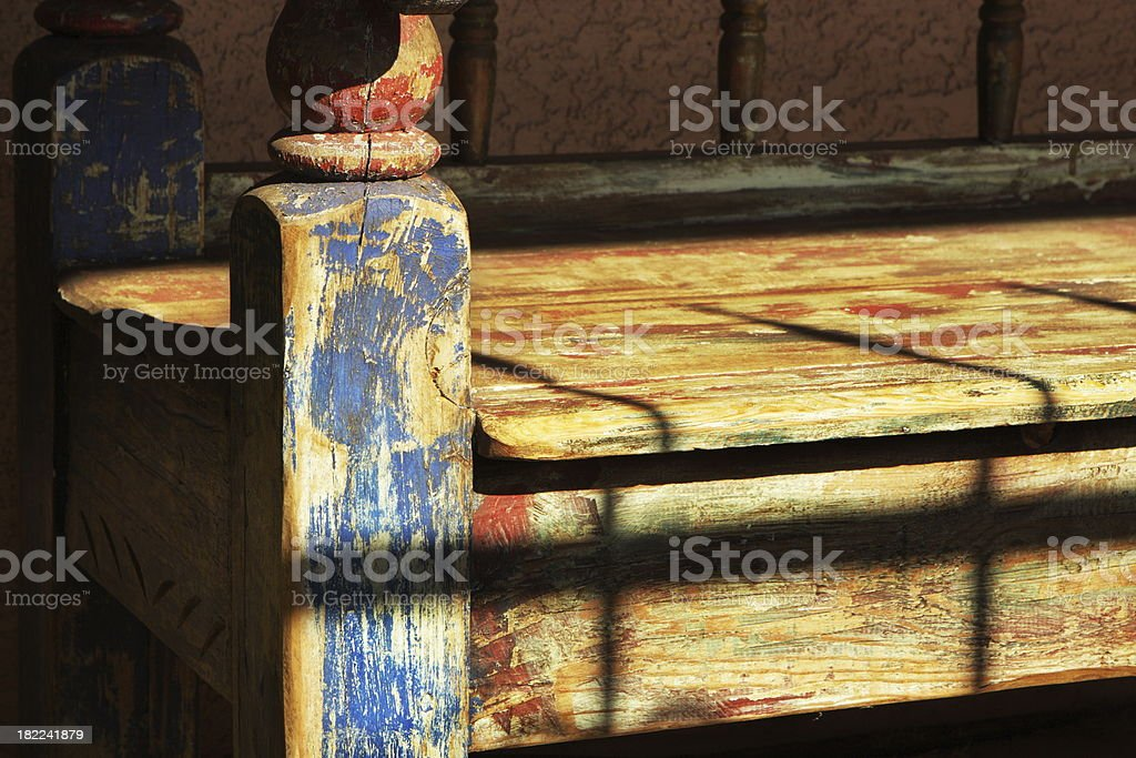 Antique Bench Furniture Sunlight Shadow royalty-free stock photo
