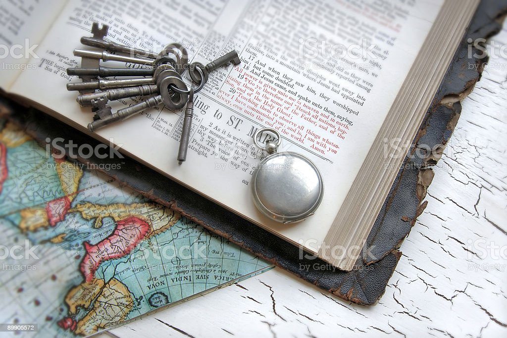 Antique Bible, Watch, and Keys royalty-free stock photo