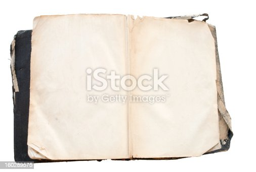 121305595 istock photo antique Bible with open blank pages and isolated on white 160289575
