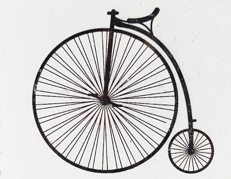 Antique bicycle Icon. Classic bicycle line art on white background with copy space
