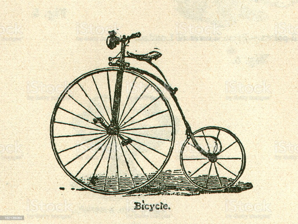 Antique Bicycle Illustration Old Bike stock photo