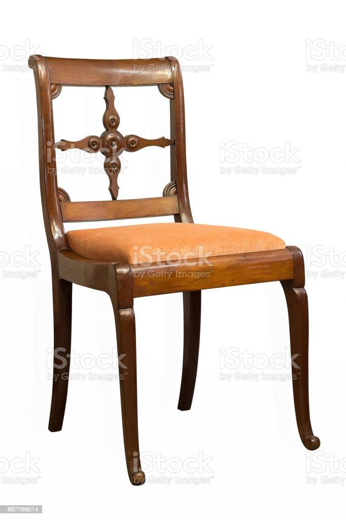 Antike Biedermeier Stuhl Mit Holzschnitzerei Stockfoto Und