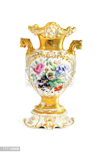 antique biedermeier (time 1815-1840) vase with flowers like rose, bluebell, hibiscusSee also my other flea market images: