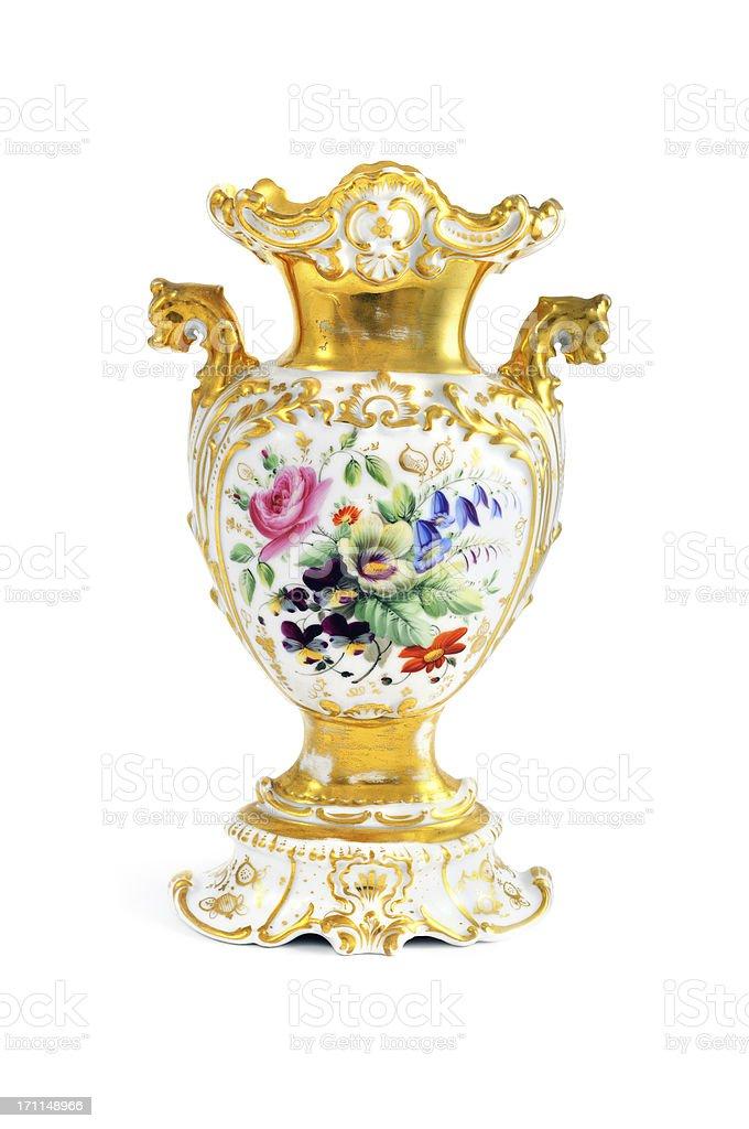antique biedermeier (time 1815-1840) vase with flowers stock photo