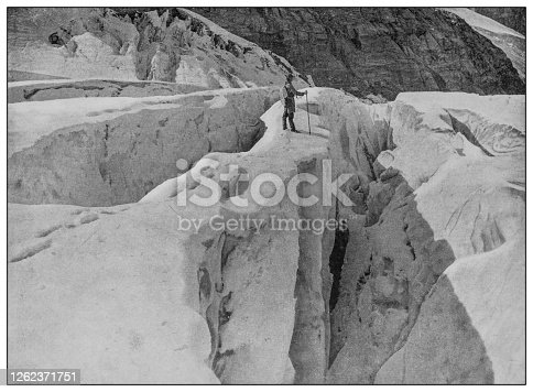Antique black and white photo: Asulkan Glacier crevasses
