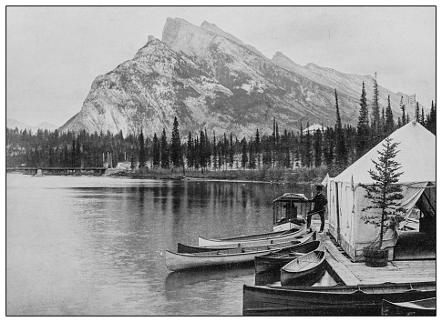 Antique black and white photo: Banff, Alberta