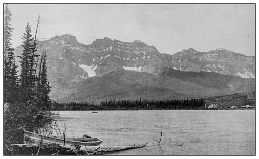 Antique black and white photo: Banff, Canada