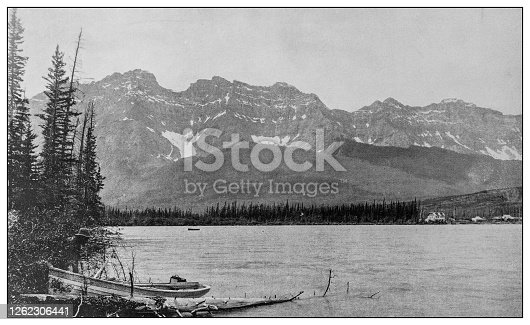 Antique black and white photo: Banff, Canada