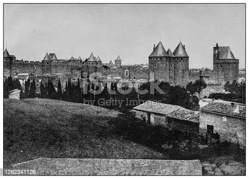Antique black and white photo: Carcassonne walls