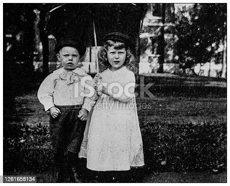 Antique black and white photo: Children