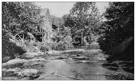 Antique black and white photo: Elfin Gorge