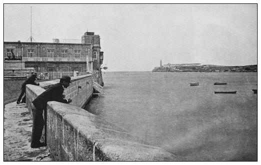Antique black and white photo: Entrance to Havana Bay