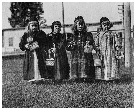 Antique black and white photo: Little girls