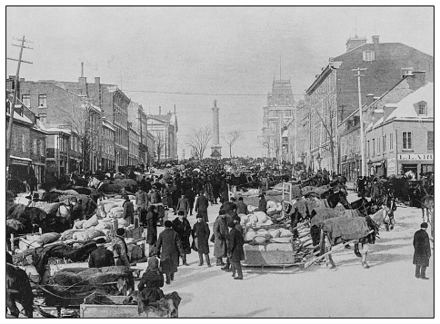 Antique black and white photo: Market Day, Jacques Cartier Square, Montreal, Canada