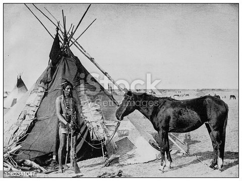 Antique black and white photo: Native north American