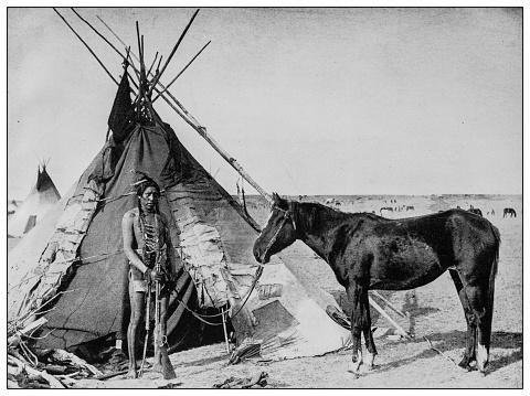 Antique black and white photo: Native north American