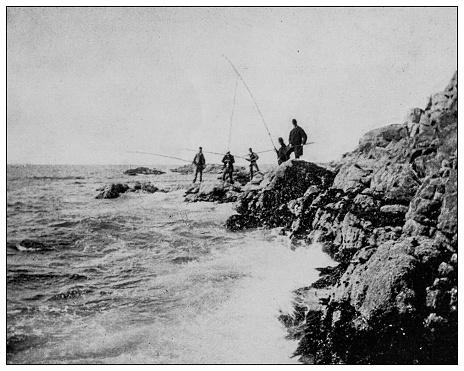 Antique black and white photo: New England coast