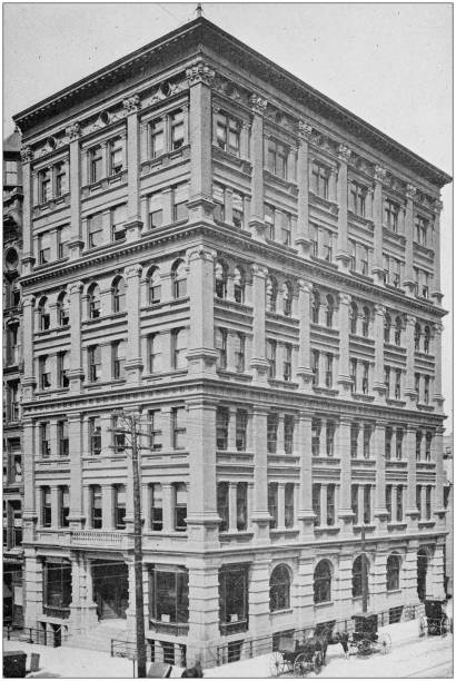 Antique black and white photo of Buffalo, New York: Builder's Exchange stock photo
