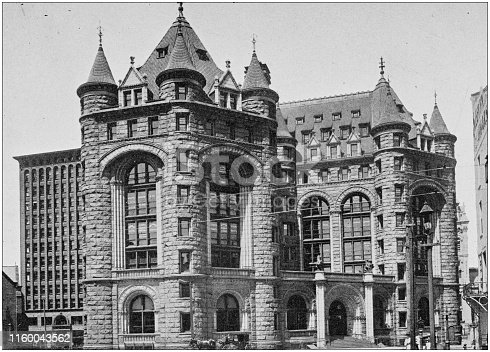 Antique black and white photo of Buffalo, New York: Erie County Savings Bank