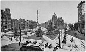 Antique black and white photo of Buffalo, New York: Lafayette Square