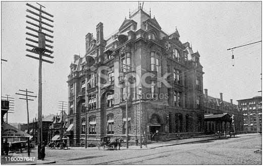 Antique black and white photo of Cincinnati, Ohio: Central Union Depot